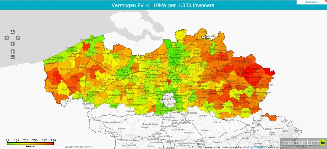 2017-05-04 Kaart  vermogen PV panelen kleiner 10kW per 1.000 inwoners.jpg