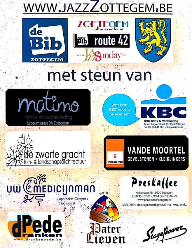 Jazz Zottegem 2017 sponsors